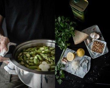 Rezept grüne spargel minestrone mit hausgemachter hühnerbrühe und petersilienpesto