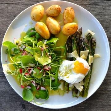 Rezept Grüner Spargel mit pochiertem Ei