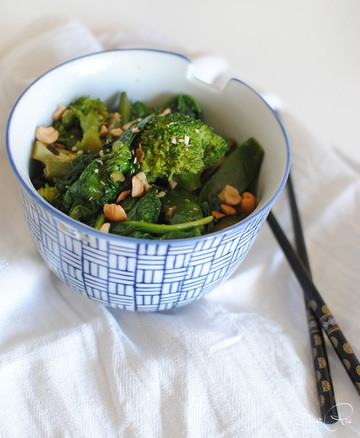 Rezept grünes Wokgemüse mit Reis
