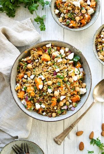 Rezept Grünkernsalat mit gerösteten Süßkartoffeln und Kichererbsen
