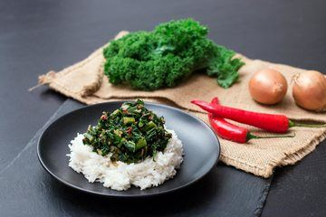 Rezept Grünkohl mit Erdnussbutter und Reis