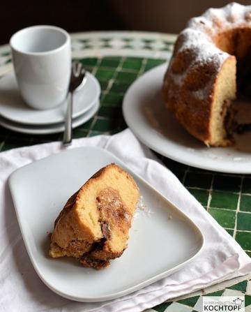 Rezept Gugelhupf mit Dulce de Leche & Schokoladen-Haselnuss-Füllung