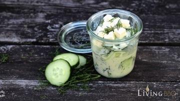 Rezept Gurkensalat mit Sahne, Fetakäse und Dill
