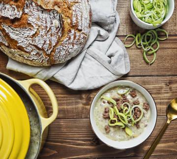 Rezept Hackfleisch-Käse-Lauch-Suppe