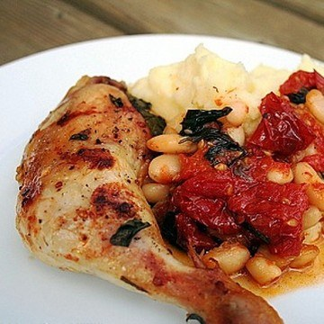 Rezept Hähnchenschenkel mit Tomaten aus dem Ofen