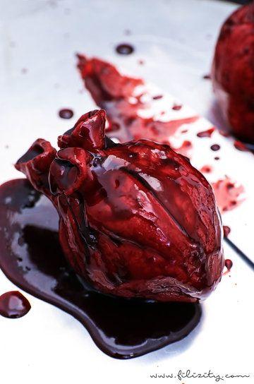 Rezept Halloween Nachtisch: Blutende Herzen