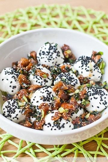 Rezept Hausgemachte Frischkäse-Bällchen mit Frühlingszwiebeln und Feigen
