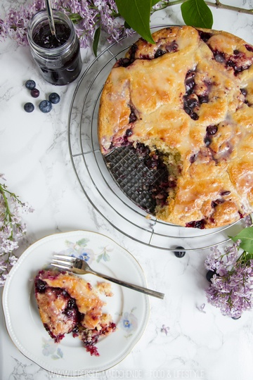 Rezept Hefeschnecken-Kuchen mit Blaubeeren