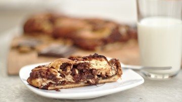 Rezept Hefestriezel mit Schokoladen-Nuss-Füllung!