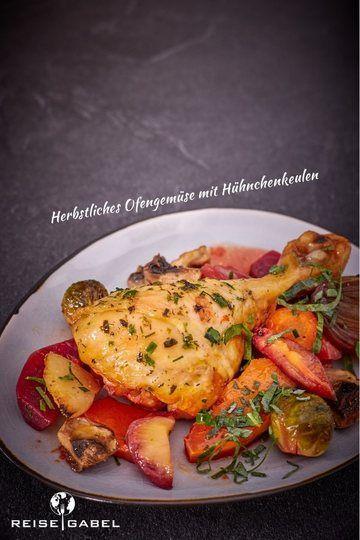 Rezept Herbstliches Ofengemüse mit Hühnchenkeulen
