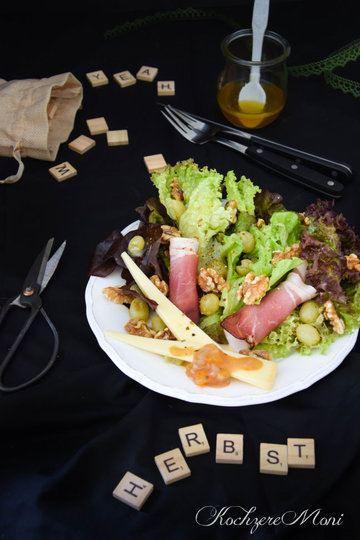 Rezept Herbstsalat mit Kürbis Birnen Chutney und Birnendressing