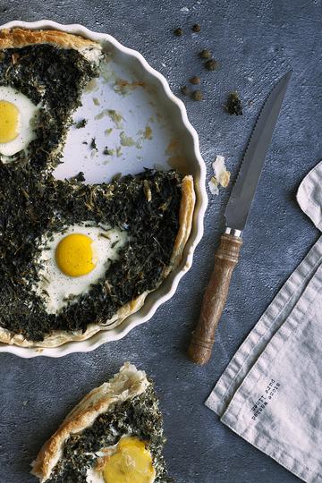 Rezept Herzhafte Grünkohl-Tarte mit Eiern und Kümmel