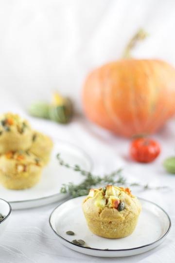 Rezept Herzhafte Kürbismuffins mit Feta & Thymian