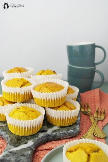 Rezept Herzhafte Kurkuma Latte Süßkartoffel Muffins mit Datteln