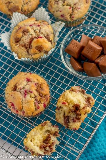 Rezept Himbeer-Eierlikör-Muffins mit Nougat