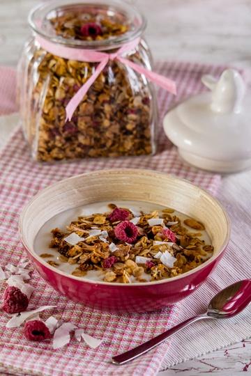 Rezept Himbeer-Kokos-Müsli (ohne Zucker)