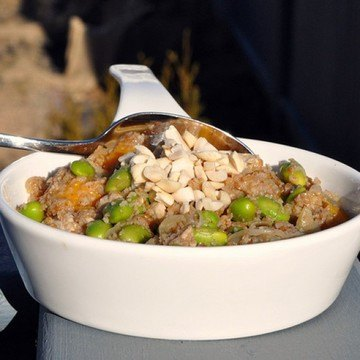 Rezept Huehnchen mit Mango und braunem Bulgur