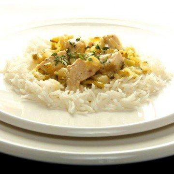 Rezept Huhn in Senfsosse mit Lauch und Knoblauch