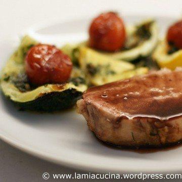 Rezept Iberisches Schwein mit Thymianjus und Beigemüse