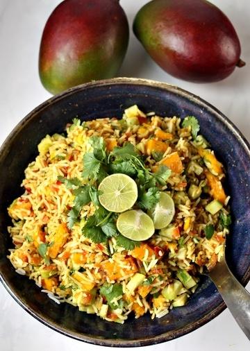 Rezept Indischer Reis Salat mit Mango & Limetten Dressing