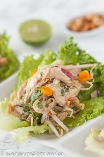 Rezept Indonesische Erdnuss-Hähnchen Salat-Wraps