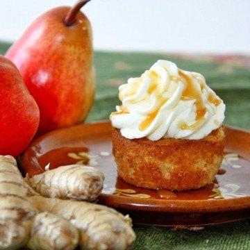 Rezept Ingwer Birnen Cupcakes mit gesalzenem Rum Karamell