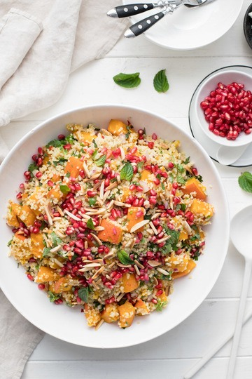 Rezept Ingwer Chili Kürbis im Ofen geröstet mit Bulgur-Salat
