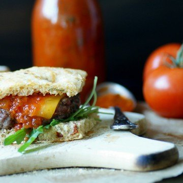 Rezept Italian Stallion Burger mit Tomato-Jam und Foccacia