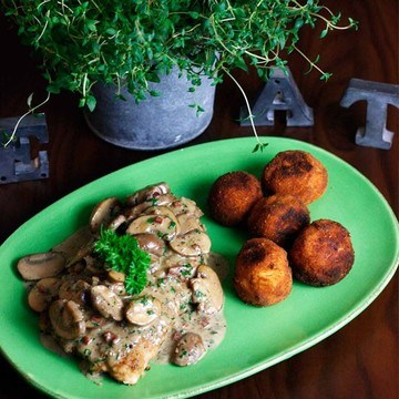 Rezept Jägerschnitzel mit Kartoffelbällchen
