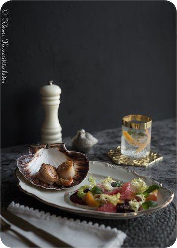 Rezept Jakobsmuscheln | Gebackene Bete | Pink Grapefruit