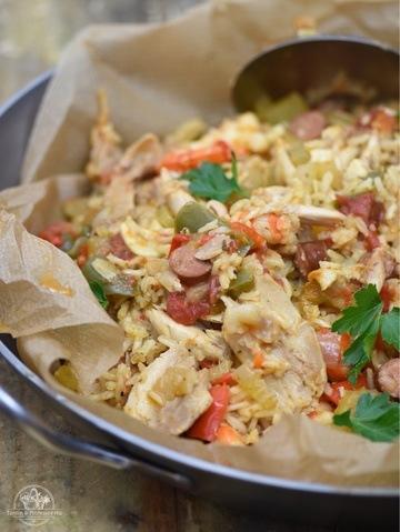 Rezept Jambalaya mit Huhn, Garnele & Chiliwurst
