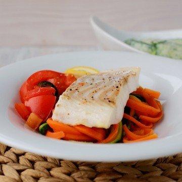 Rezept Kabeljau auf Gemüsespaghetti