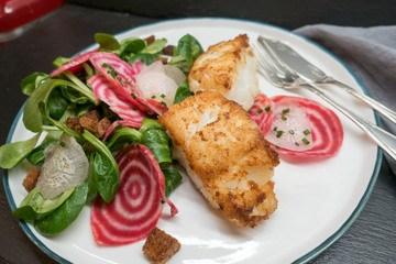 Rezept Kabeljau mit Ringelbete-Salat