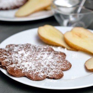 Rezept Kakaowaffeln mit Weißwein-Birnen