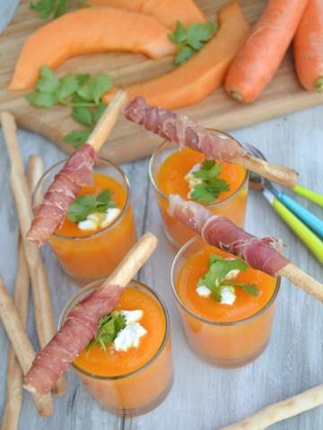 Rezept Kalte Melonensuppe mit Serano und Grissini