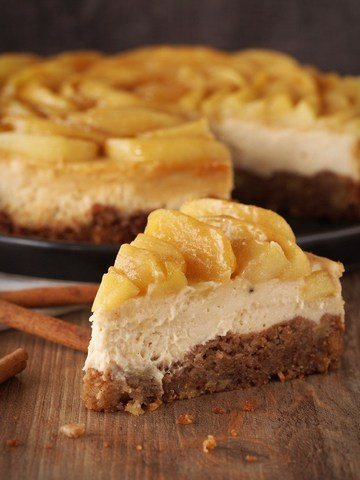 Rezept Karamell-Cheesecake mit Zimt-Äpfeln