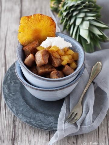Rezept Karamellisierte Kastanien-Knöpfchen mit Ananas-Kompott