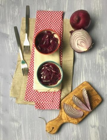 Rezept Karamellisierte rote Zwiebeln
