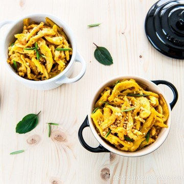 Rezept Karotten-Spätzle und Garnelen in Sacha Sauce