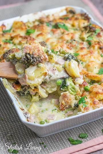Rezept Kartoffel-Brokkoli-Auflauf mit Schinken und Käse