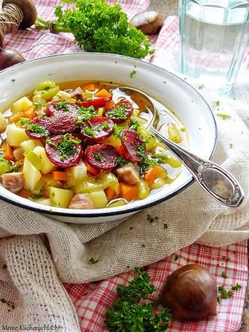 Rezept Kartoffel-Maronen Eintopf mit Cabanossi Chips