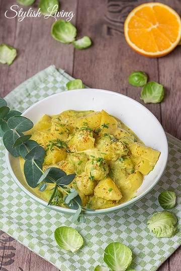 Rezept  Kartoffel-Rosenkohl-Curry mit Orangensaft