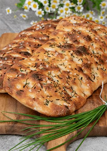 Rezept Kartoffelfladen mit Knoblauch-Schnittlauch und Meersalz
