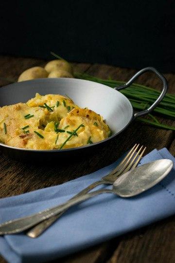 Rezept Kartoffelgratin mit Mais und Sauce Hollandaise