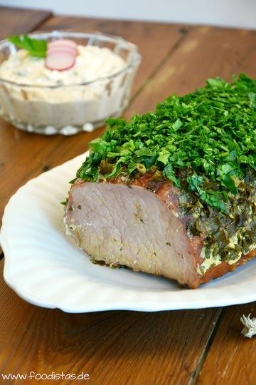 Rezept Kasseler mit Kräuter-Senf-Kruste