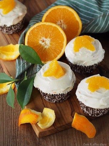 Rezept Kastanien-Cupcakes mit Orangen-Quark