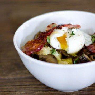 Rezept Katroffelstampf mit Shiitake Pilzen, Bacon und Ei