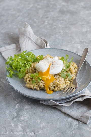 Rezept Kerbel-Zitronen-Risotto mit pochiertem Ei