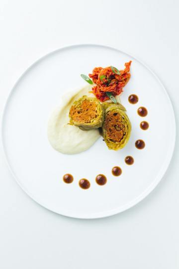 Rezept Kimchi-Wirsingrouladen mit Topinamburpüree