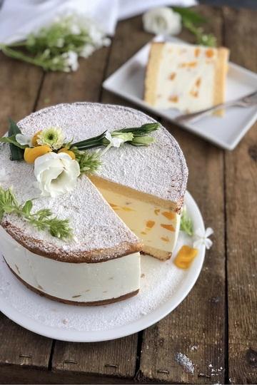 Rezept Klassische Käse Sahne Torte mit Pfirsichen